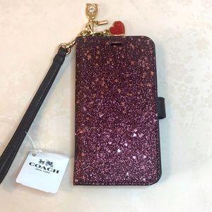 Coach Glitter X Phone Folio NWT Raspberry #F39467.